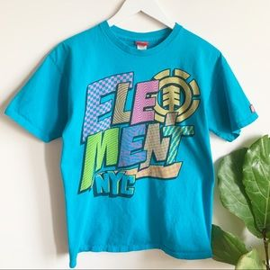 Element NYC Blue Graphic T Shirt M Made in USA